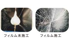 衝撃破壊試験JIS A5759規定飛散防止基準をクリア。<br /> 万が一の災害時に、割れたガラスの落下や爆風による飛び散りが凶器となり、二次災害につながります。オプトロンフィルムを窓ガラスに貼ることで、その強力な接着層が窓ガラスにしっかりと密着し、ガラス片の飛び散りや落下を抑えることができます。